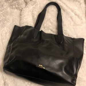 Coach Black Derby Pebbled Leather Tote